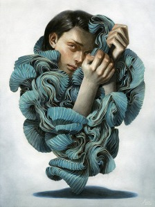 """Enveloped Between a Pleated Thought."" 2012. Colored Pencil and Acrylic on Paper. Tran Nguyen 